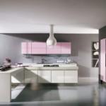 Thiết kế nhà bếp hiện đại với gam màu hồng