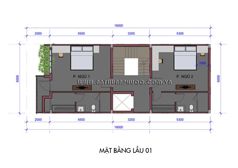 02 mb lau 01 Mẫu thiết kế nhà phố đẹp   hiện đại 6m x 16m