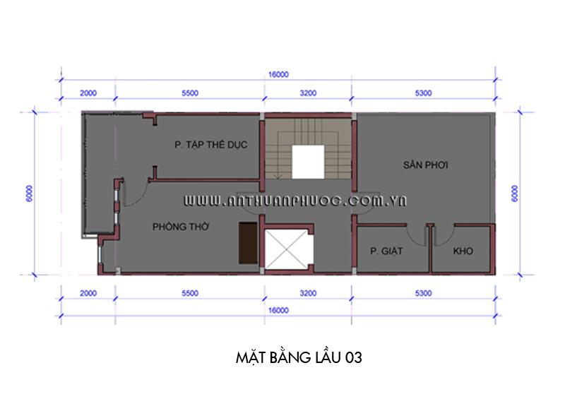 04 mb lau 03 Mẫu thiết kế nhà phố đẹp   hiện đại 6m x 16m