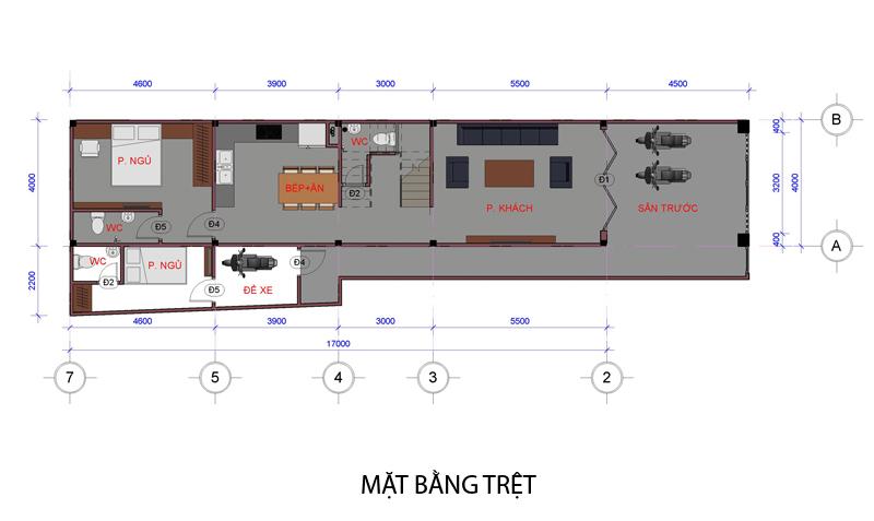 01 mat bang tret Mẫu thiết kế nhà đẹp – mẫu nhà phố 1 trệt 1 lầu