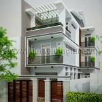 Mẫu thiết kế nhà phố đẹp 3tầng – 2 mặt tiền