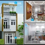 Mẫu thiết kế nhà phố 1 trệt 2 lầu – mặt tiền 3,5m