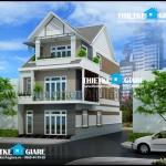 Mẫu nhà phố 3 tầng mái ngói – 2 mặt tiền