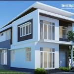 Thiết kế nhà phố 2 tầng – Mặt tiền 8m