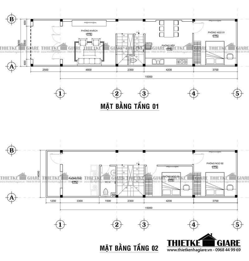 tư vấn thiết kế nhà phố 4x15m 2 tầng