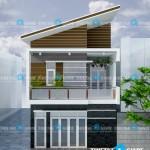 Mẫu thiết kế nhà phố 2 tầng – mặt tiền 6,5m
