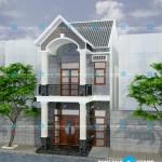 Mẫu thiết kế nhà phố1 trệt 1 lầu mặt tiền 5m