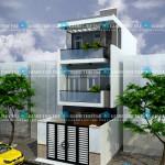 Mẫu thiết kế nhà phố ngang 5mx16m – 3 tầng – Hiện đại