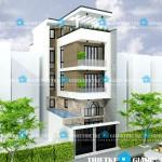 Mẫu thiết kế nhà phố mặt tiền 6m – 1 trệt 1 lửng 2 lầu 1 sân thượng