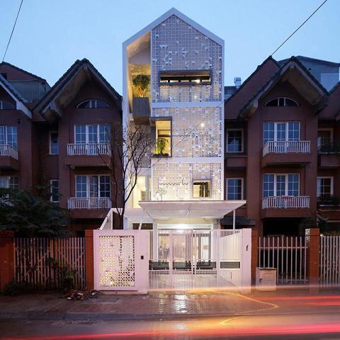 Ứng dụng gạch bông gió trong kiến trúc nhà phố