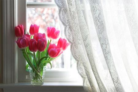 Rèm cửa mỏng nhẹ màu trắng giúp ngôi nhà sáng