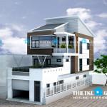 Mẫu thiết kế nhà phố 1 trệt 1 lửng 1 lầu – 2 mặt tiền