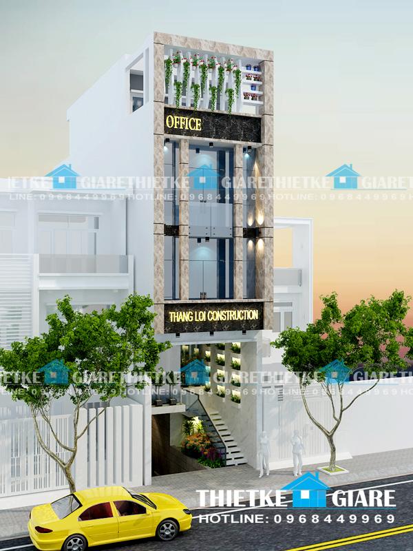 Mẫu thiết kế mặt tiền nhà phố ngang 5m, 1 hầm 1 trệt 2 lầu + sân thượng